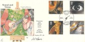 2000 Sound & Vision, Fourpenny Post Official FDC, 2000 AD Music / Arts Centres Gateshead H/S. Signed by Mel Harris.