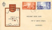 1948 Channel Islands Liberation, Williams' Book Shop Illustrated FDC, Alderney Channel Islands cds.