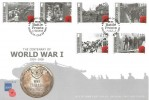 2015 The Centenary of World War I 1914 -1918 Isle of Man FDC, WWI Battle Fronts Douglas H/S.