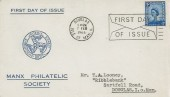 1966 4d Isle of Man Regional, Manx Philatelic Society FDC, First Day of Issue Douglas Isle of Man Slogan.