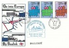 1973 European Communities, Historic Relics Sealink FDC, Calais cds with Paquebot Markings & European Communities Stamps Posted at Sea Cachet.