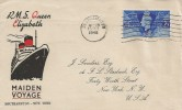 1946 RMS Queen Elizabeth Maiden Voyage Southampton - New York, J Sanders Cover, Southampton Cancel.