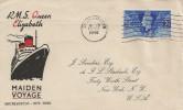 1946 RMS Queen Elizabeth Maiden Voyage Southampton - New York, J Sanders Cover, Southampton Cancel.