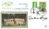 1993 120 Years of County Cricket, Benham Australian Tour 1993 commemorative cover, signed by retired Umpire Dickie Bird, The Ashes Tour 2nd Cornhill Test Match Lord's London NW8 H/S.