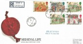 1986 Medieval Life, Registered Royal Mail FDC, Braunton Devon cds & Cachet.