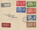 1951 Festival of Britain, Registered Express Delivery FDC, Festival Commemorative & High Values on the same cover, North End Portsmouth 5 Hants. cds.