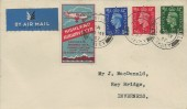 1937 KGVI ½d, 1d, 2½d Definitive Issue Plain FDC, Highland Airways Ltd label, Finstown Kirkwall Orkney cds.