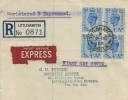 1950 KGVI 4d Light Ultramarine Block of 4, Registered Express Delivery FDC, Littlehampton Sussex cds.