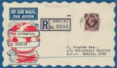 1947 KGVI 11d Plum, Registered Illustrated Air Mail FDC, Heswall Hill Wirral Cheshire cds.