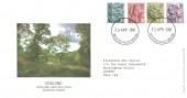 2001 England Country Pictorials, 2nd, 1st, E & 65p Royal Mail FDC, Buckingham Palace SW1A 1AA cds.