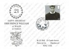 2003 Prince William, 21st Birthday FDC, 28p Stamp only, First Day of Issue Cardiff H/S.