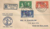1937 Kenya Uganda Tanganyika Coronation, Registered H Kassum FDC, Registered Dar Es Salaam Oval cds.
