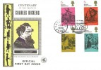 1970 Literary Anniversaries, Wessex FDC, 4 x 5d Charles Dickens Stamps, Chigwell Essex E78 H/S.