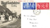 1951 Festival of Britain, Hertfordshire for Your Holiday FDC, High Street Berkhamstead Herts. cds.