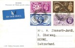 1949 Universal Postal Union, Postcard of UPU Statue Bern Switerzland,  Marple Stockport Cheshire cds.