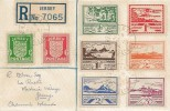 1944 Jersey Registered Occupation Commemorative Cover, Sets of Jersey Arms & Jersey Views Stamps on one Cover.