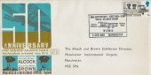 1969 Notable Anniversaries, Manchester International Airport Official FDC, 5d Stamp only, 50th Anniversary First Non-Stop Trans-Atlantic Flight Alcock & Brown BAMS Manchester H/S.