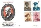 1974 Winston Churchill, Benham Engraved FDC, Bladon Oxford cds.