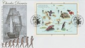 2009 Charles Darwin Miniature Sheet, Buckingham Covers No.335 Official FDC, Charles Darwin Theory of Evolution Cambridge H/S.