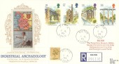 1989 Industrial Archaeology, Registered Presentation Silk Cigarette Card Series FDC, Bolton Lancs. cds with Cachet.