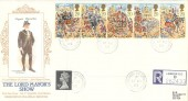1989 The Lord Mayor's Show, Registered Presentation Silk Cigarette Series FDC, Stock Exchange BO London EC2 cds.
