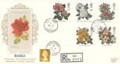 1991 Roses, Registered Presentation Silk Cigarette Series FDC, Rose Truro Cornwall cds.