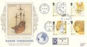 1993 Marine Timekeepers, Registered Presentation Silk Cigarette Series FDC, Greenwich London SE10 cds + Cachet.