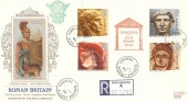 1993 Roman Britain, Registered Presentation Silk Cigarette Series FDC, Fishbourne Chichester West Sussex cds + Cachet.