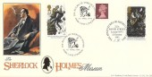 1994 Sherlock Holmes, Bradbury FDC, Adventures of Sherlock Holmes 221B Baker Street London NW1 H/S, Doubled with The Return of Sherlock Holmes Park Lane London H/S
