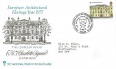 1975 Architecture, The National Trust for Scotland Official FDC, 7p Charlotte Square Edinburgh Stamp Only.