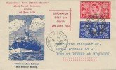 1953 Coronation, Association of Essex Philatelic Societies Ninth Annual Convention FDC, 2½d & 4d stamps, Clacton-on-Sea Essex cds.