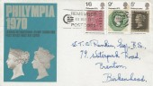 1970 Philympia, Post Office FDC, Remember to use the Postcode Slogan Nottingham.