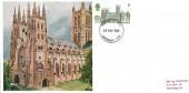 1969 British Cathedrals, Cameo Maxicard, 5d stamp Canterbury Cathedral, Canterbury Kent FDI.