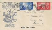 1948 Channel Islands Liberation, Blue Illustrated FDC, Guernsey Cancel.
