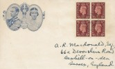 1937, KGVI 1½d Red-Brown Block of 4, Illustrated FDC, Bexhill on Sea Sussex cds.