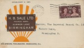 1937 Coronation, H.B Sale Ltd Commercial FDC, Birmingham Cancel.