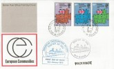 1973 European Communities, Post Office FDC, Calais cds + Paquebot markings, Posted at Sea M. V. Horsa.