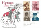 1974 Hastings Day Commemorative Cover, Set of 1974 Winston Churchill Stamps, Today is Hastings Day Slogan.