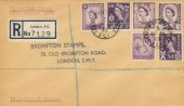 1958 Regionals all 6 stamps on one Registered FDC, London Chief Office cds