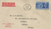 1948 Olympic Games Wembley, Duron Brake LiningsLtd FDC, 2½d Stamp only, Buxton Derbyshire Cancel.