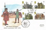 1978 Historic Buildings, Tower of London Official FDC, Tower of London British Forces 9000 Postal Service H/S.