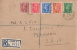 1951 Festival of Britain, ½d, 1d, 1½d, 2d, 2½d Low Value Definitives, Plain Registered FDC, London Chief Office EC1 cds.