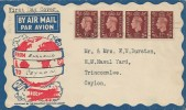 1937 KGVI 1½d Red-Brown Definitive strip of 4, on Illustrated Flight Cover England to Ceylon, Post Early in the Day Plymouth Slogan.