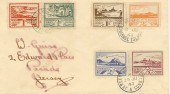 1943 Jersey Views ½d to 3d 6 values on one cover with 3 dates of issue. Scarce