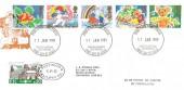1989 Greetings Stamps, Festiniog Railway FDC, Caernarfon Gwynedd FDI, 20p Slate Train Crossing 1836 Railway Letter Stamp.