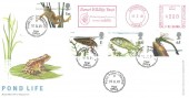 2001 Pond Life, Royal Mail FDC, Dorset Wildlife Trust Meter Mark, Pond Park Lisburn cds.