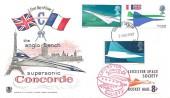 1969 Concorde, Stuart FDC, Filton Bristol FDI + 8p Leicester Space Rocket Mail Society Stamp.