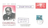 1979, Churchill Centenary, Mercury Cover, Stamp Invalid Cachets, 12p To Pay label affixed.