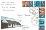 1966 Robert Burns, Connoisseur FDC, Both Phosphor & Ordinary Sets on Cover, Alloway Ayrshire H/S, Signed by the Stamp Designer Gordon F Huntley.