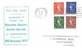 1959, Phosphor Graphite Definitive issue ½d to 4½d, 8 Values on two Sanders Display covers, Southampton Cancel.